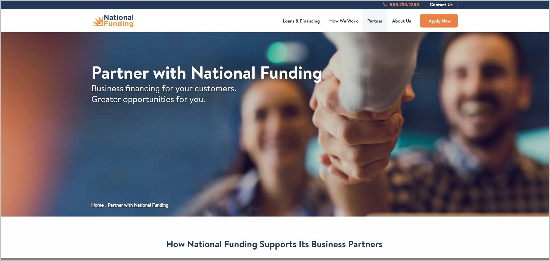 screenshot of National Funding homepage, with white header bearing the website's name and main navigation menu, showcasing a couple shaking hands to someone outside of the frame