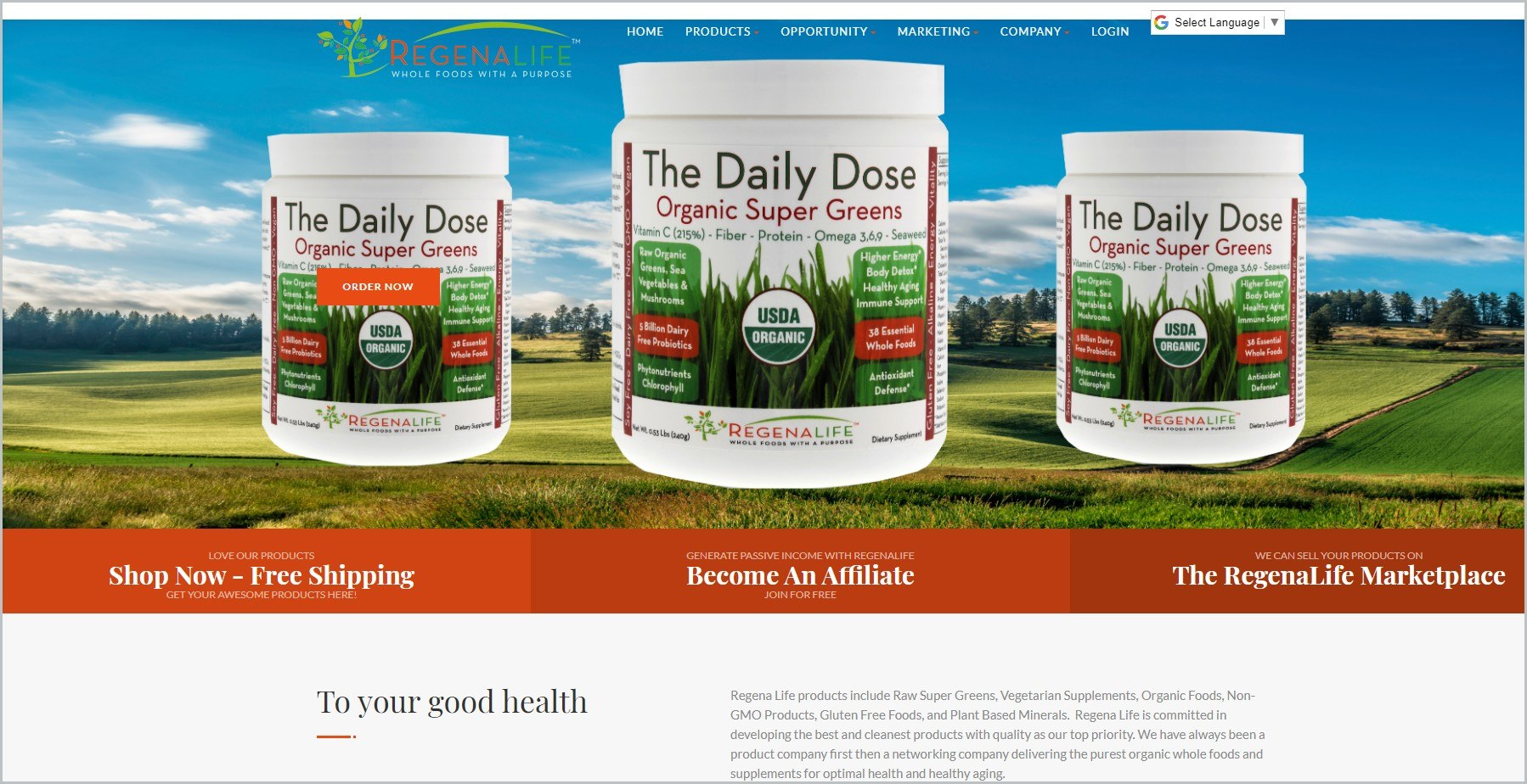 screenshot of Regena Life homepage with blue header bearing the website's name and main navigation menu, it showcases 3 images of different products with an open field and blue sky as background