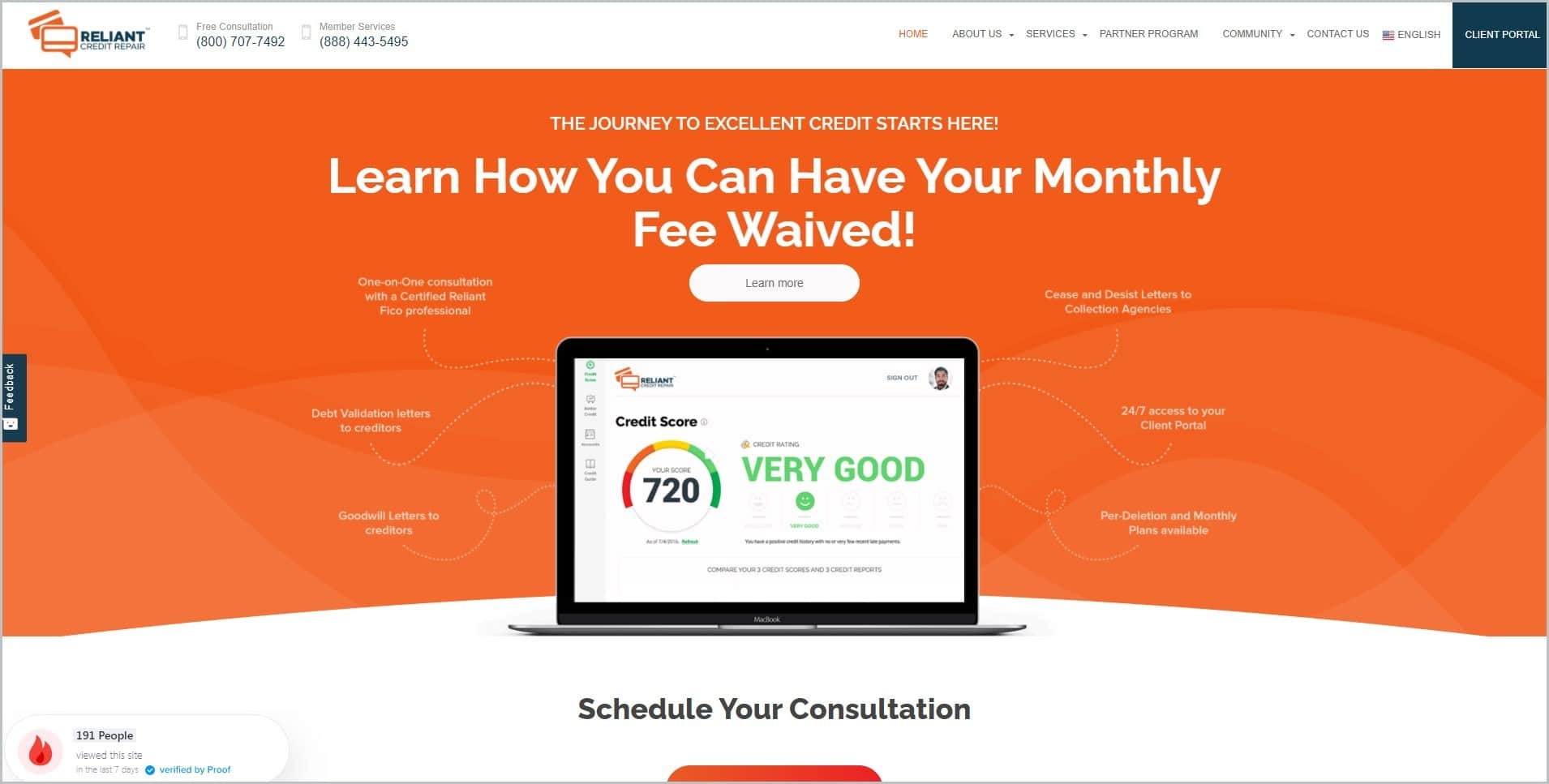 screenshot of Reliant Credit Repair homepage with white header bearing the website's name and main navigation menu, a picture of a laptop with an orange background as main image