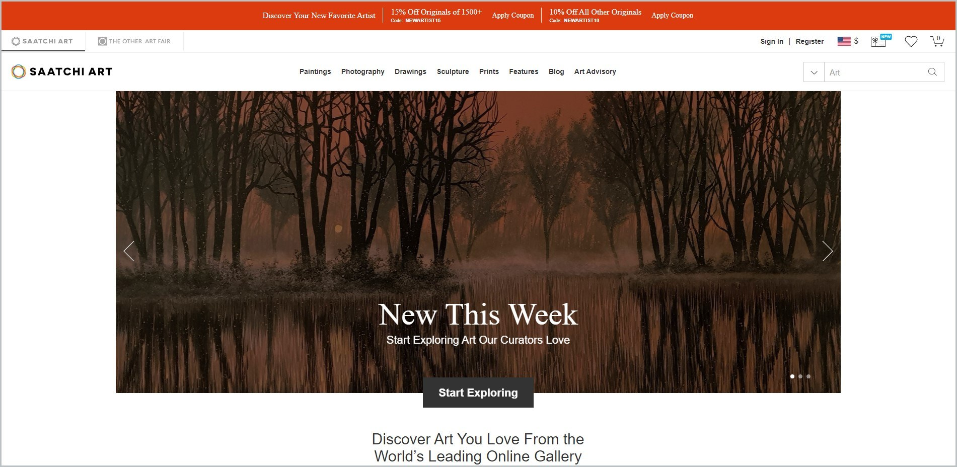 screenshot of Saatchi Art homepage, red announcement bar, white header bearing the website's name and main navigation menu, showcasing a painting for main image