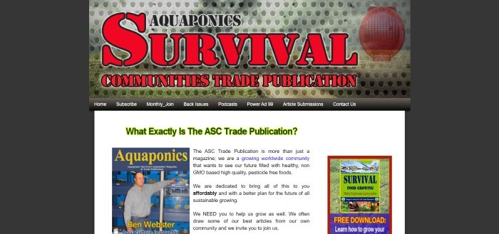 This screenshot of the home page for ASC Magazine has a dark background with a white middle section which includes two photos of the ASC Publication and black text explaining what the magazine is about.