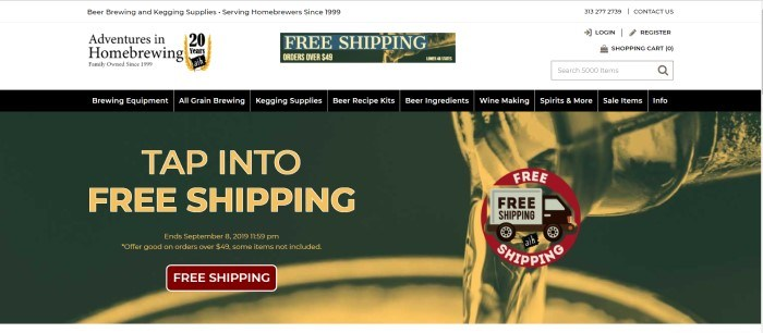 This screenshot of the home page for Adventures In Home Brewing has a dark background with a gold image of a liquid being poured into some brewing equipment, and an announcement for free shipping.