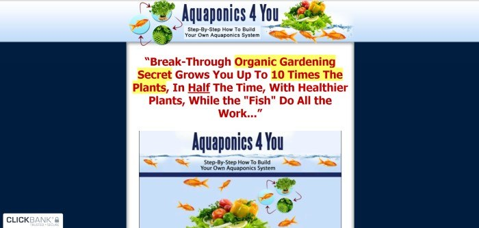 This screenshot of the home page for Aquaponics 4 You has a dark blue background, a white center section with red and blue text announcing the idea of aquaponics, and a photo of a goldfish aquarium with images of fresh veggies layered over the top.