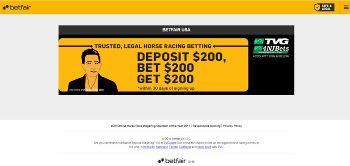 This screenshot of the home page for Betfair has a light gray background, with a midsection in black and orange announcing legal horse race betting.