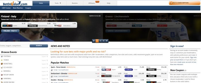 This screenshot of the home page for BetOnValue has a white background, a dark filtered photo near the top of the page showing what appears to be a professional soccer player behind some betting information, and black and red text through the rest of the page giving information about current and upcoming sporting events to bet on.