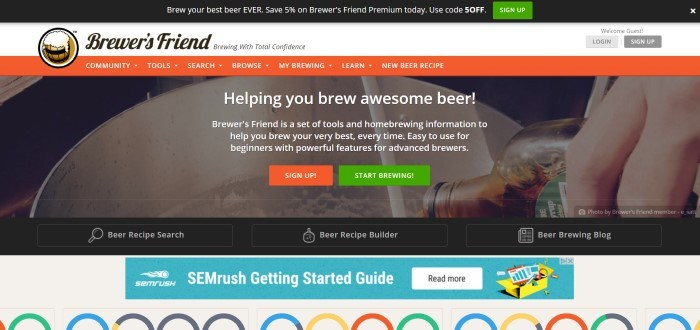 This screenshot of the home page for Brewer's Friend has a large photo of a metal home brewing system, along with white text announcing the information and tools available at Brewer's Friend.