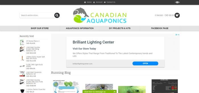 This screenshot of the home page for Canadian Aquaponics has a white background, small photos and text of products running down the left side of the page, blog post photos along the bottom of the page, and a white and gray section near the center of the page announcing LED lighting for aquaponics systems.