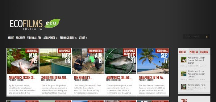 This screenshot of the home page for Eco Films Australia has a black background with a beige window containing photos and writing in black and red text that share blog post topics for the past few months, including a photo of someone holding a fish, a fish in a net, and an aquaponics system.