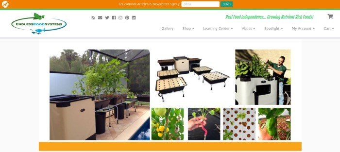 This screenshot of the home page for Endless Food System shows several pictures of state-of-the-art aquaponics systems on a white background with an orange footer and header.