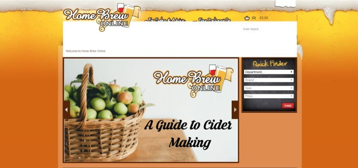 This screenshot of the home page for Home Brew Online has an orange background and a photo of a basket of apples on a wooden table next to black text that reads 'A guide to cider making.'