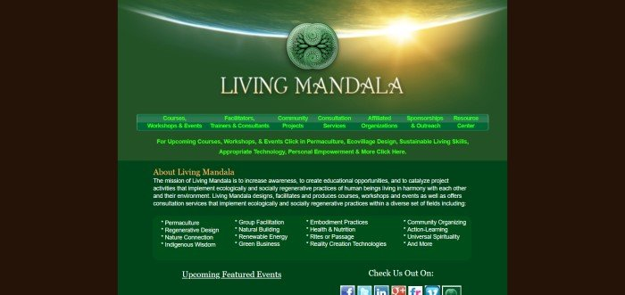 This screenshot of the home page for Living Mandala has a dark background and a green midsection with white, yellow, and green text explaining the aquaponics course, below a photo showing the Earth as the Sun comes up on the lower horizon.
