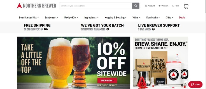 This screenshot of the home page for Northern Brewer has a photo of two home-brewed beverages next to an advertisement in white lettering for a 10% off sale.