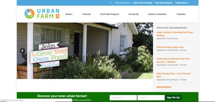 This screenshot of the home page for Urban Farm U has a white background with a large photo of a home and yard, which includes a sign inviting people to joint he grow-your-own-food revolution.