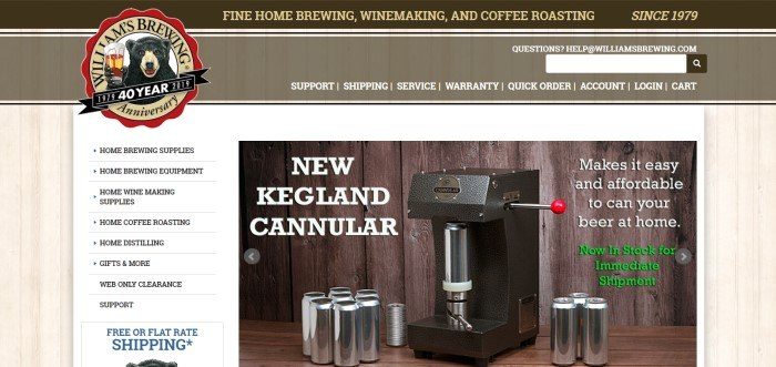 This screenshot of the home page for Williams Brewing has a background of light-colored wood, a section that customers can browse through to find the products they want, and a photo of a New Kegland Cannular.