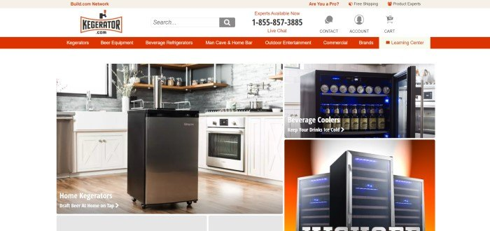 This screenshot of the home page for kegerator has three photos of different models of kegerators in a kitchen with wooden floors and white cabinets.