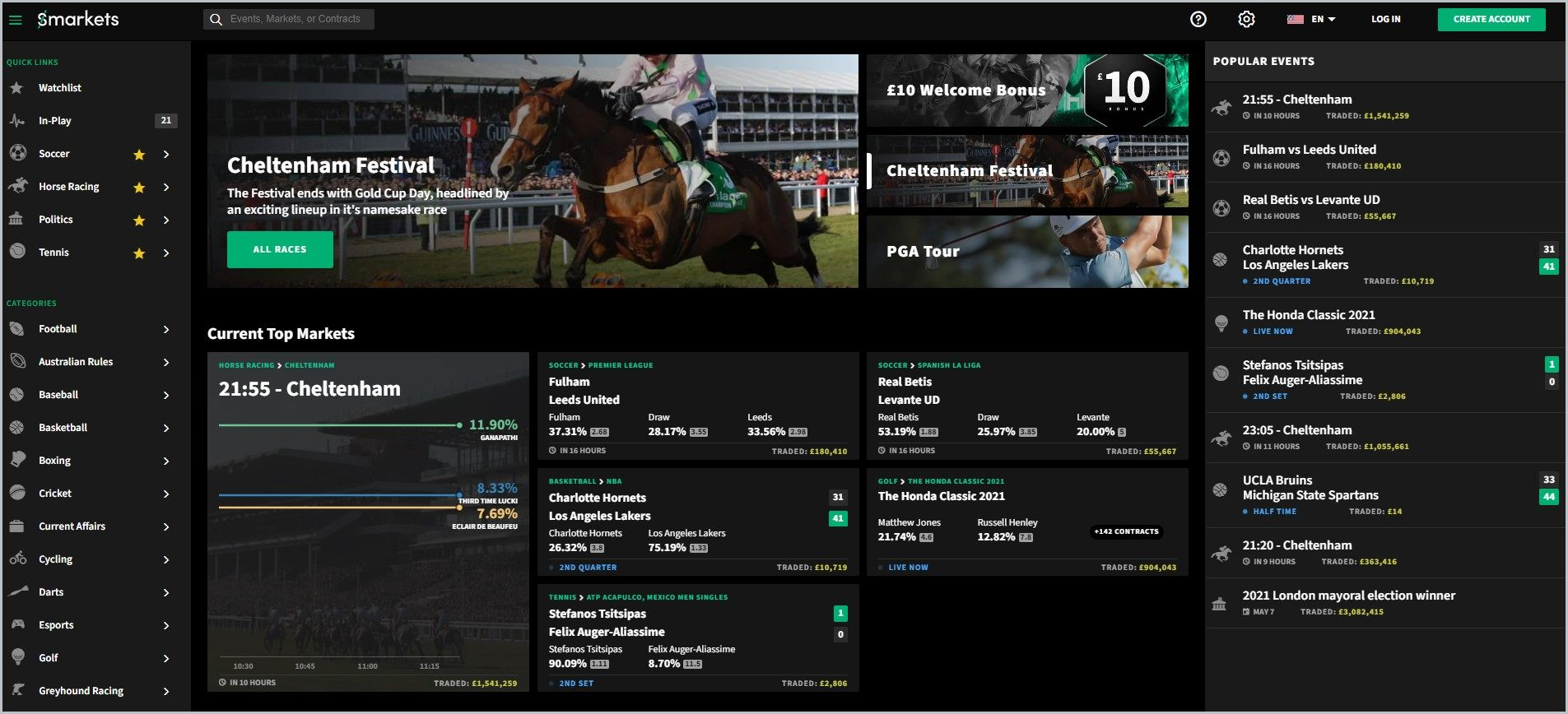 screenshot of Smarkets homepage with black header bearing the website's name, it showcases a dominantly black page with the navigation menu at the left-hand side of the page