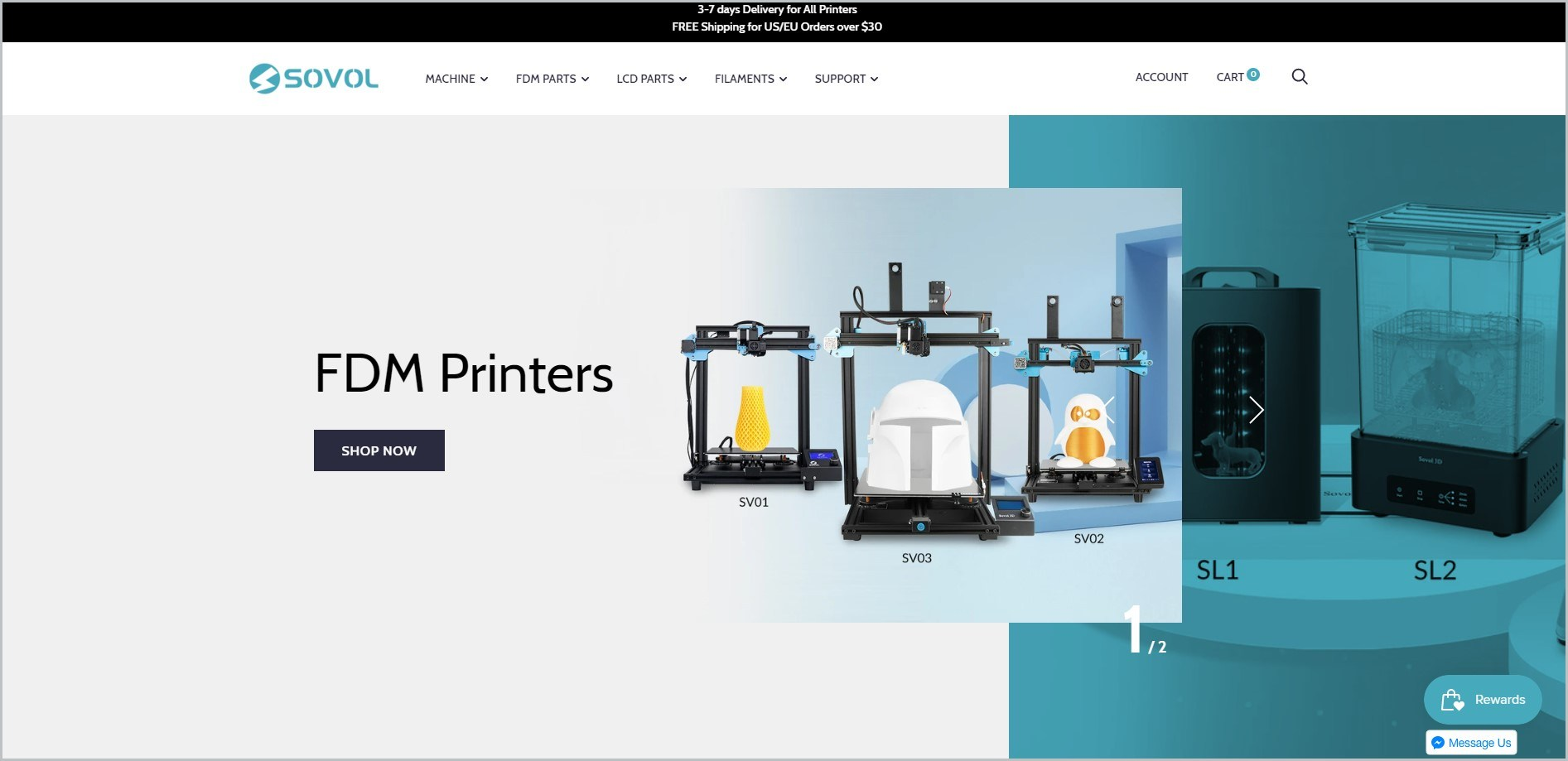 screenshot of Sovol homepage showcasing a picture of some of their maker machine as main image