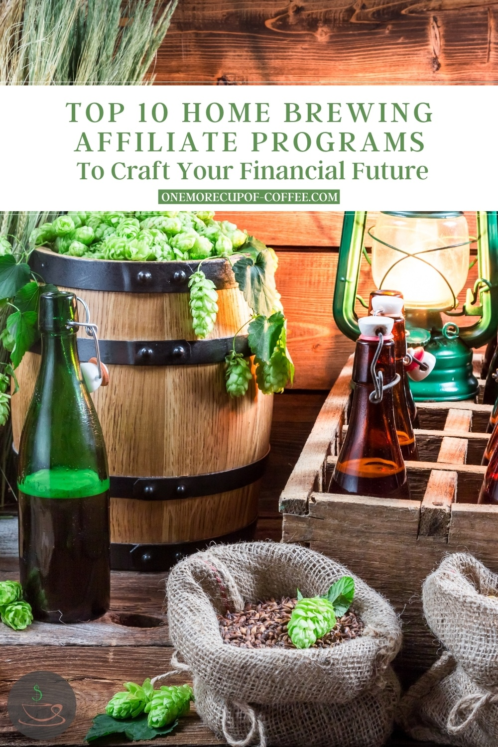 on a wooden surface and wall is a wooden keg with fresh ingredients, wooden crates with wine bottles and green lamp, burlap sack with grains; with text overlay