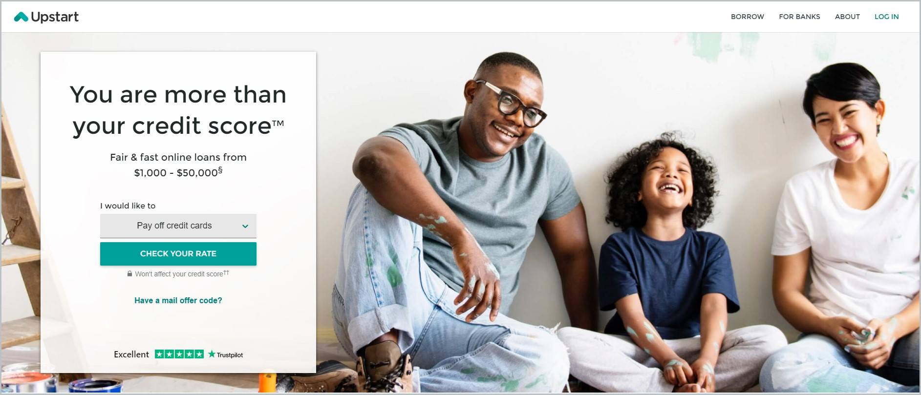 screenshot of Upstart homepage with white header bearing the website's name and main navigation menu, main image features a couple and their child seated on the floor