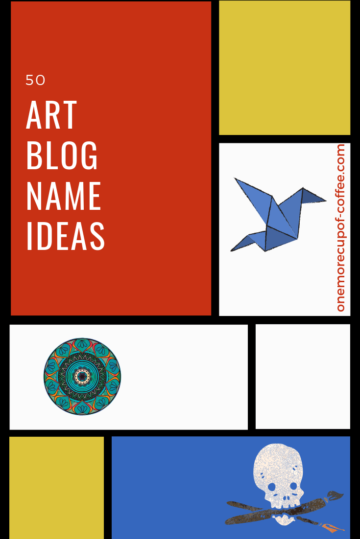"""red, yellow, white, and blue decorative squares with small cute random graphics and text """"50 art blog name ideas"""""""