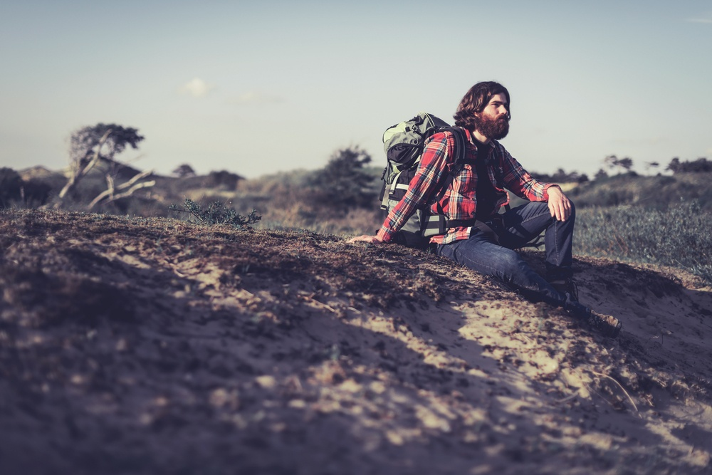 bearded man living outdoor lifestyle