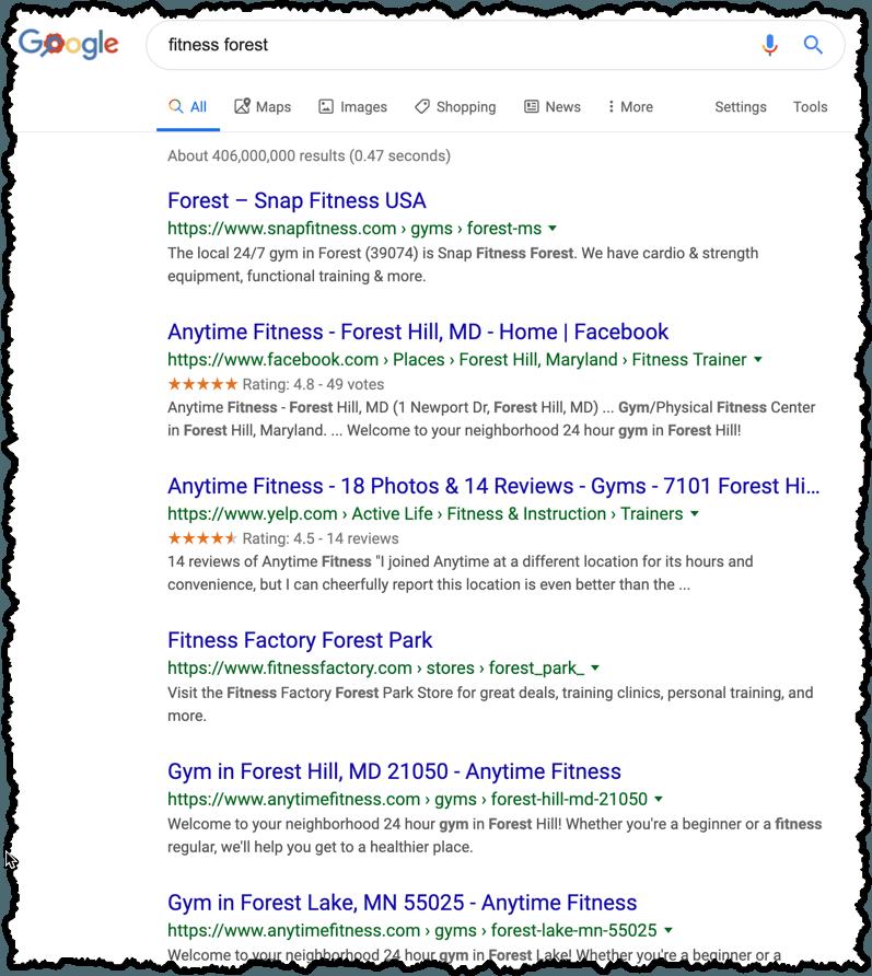 google search brand name fitness blog name