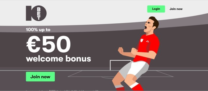 This screenshot of the home page for 10bet has a graphically-designed image in gray, white, and red of a soccer player on a soccer field, behind an announcement in white text for a welcome bonus.