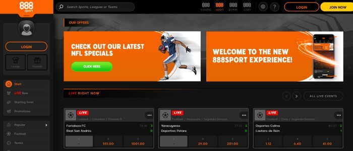 This screenshot of the home page for 888sport has a dark background and text in orange and gray, with an orange text box containing white writing that invites people to check out NFL specials, along with a green 'click here' call-to-action button.
