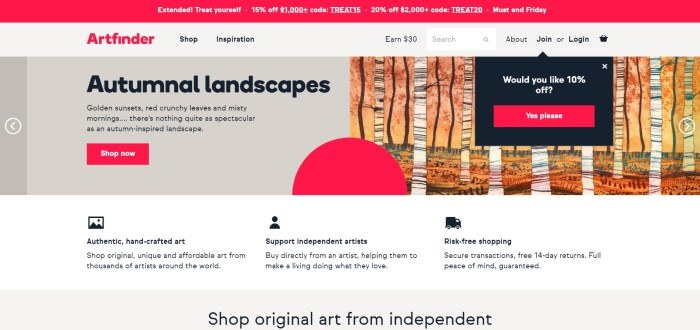 This screenshot of the home page for Artfinder has a red header with a coupon code above gray and beige sections with red and black text introducing original autumnal landscapes from independent artists, as well as a 10% discount offer and a red call-to-action button.