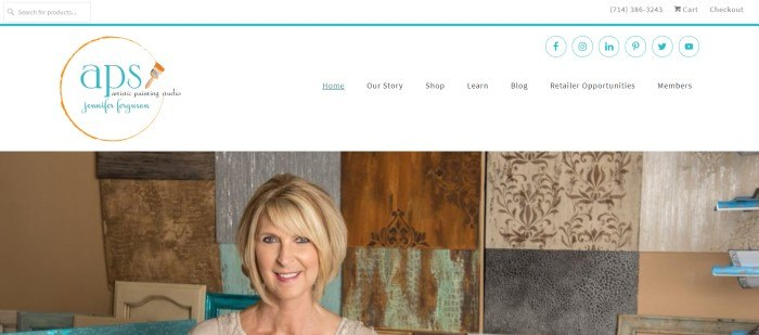 This screenshot of the home page for Artistic Painting Studio shows a smiling blond woman in front of several samples of artistic painting techniques in browns, greens, tans, and grays.