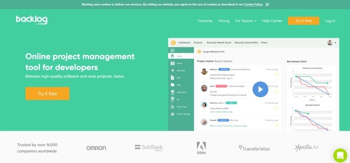 This screenshot of the home page for Backlog shows a sample project home page next to white lettering over a green background announcing Backlog as an online project management tool for developers.
