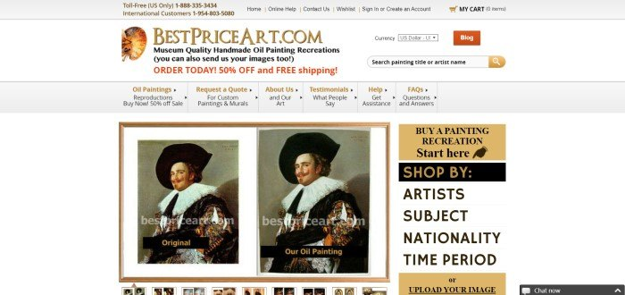 This screenshot of the home page for Best Price Art includes a white background with text in gold, black, and red announcing museum-quality handmade oil painting recreations and a side-by-side example of an old oil painting of a man with a large white collar and black hat and its recreation.