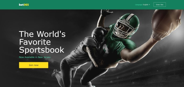This screenshot of the home page for Bet365 has a dark-filtered image of an American football tackle happening in midair, next to text in white lettering that announces Bet365 as the world's favorite sportsbook.