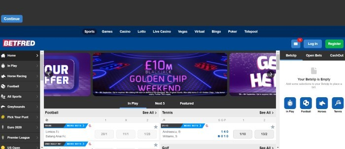 This screenshot for the home page for BetFred has a dark backtround, a white and gray lower section showing football and tennis current betting options, and an announcement in blue and purple in the upper section for a blackjack weekend.