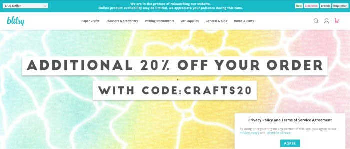 This screenshot of the home page for Blitsy has a mottled green, blue, yellow, and pink background behind white text bars with black lettering that announce a 20% off coupon and coupon code.