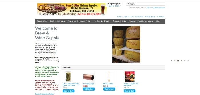 This screenshot of the home page for Brew & Wine Supply has a white background, black text welcoming browsers to the store, a photo of some cheese rounds aging on a shelf, and four smaller photos of corks, copper pipe, a mash paddle, and a classic liquors kit.