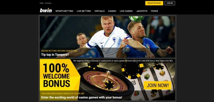This screenshot of the home page for Bwin has a black background with a photo of some professional soccer players in the middle of a game, above a 100% welcome bonus announcement in yellow and black over a photo of some casino games.
