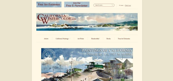 This screenshot of the home page for California Watercolor has a beige and light yellow background, blue painted navigation buttons, and a painted header for California Watercolor.com, above a painting with a large blue sky, a road, and some buildings, along white text announcing Paintings of California by Art Riley.