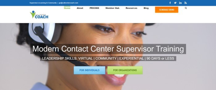 This screenshot of the home page for Call Center Coach includes a white navigation bar above a photo of a smiling woman in a headset, behind white text that reads