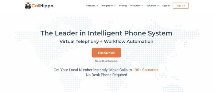 This screenshot of the home page for CallHippo has a white navigation bar above a white background with gray dots outlining the continents on Earth, behind black text announcing CallHippo as the leader in intelligent phone systems and an orange call-to-action button.