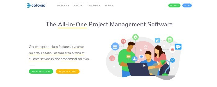 This screenshot of the home page for Celoxis has a white background, a colorful graphic of a team at work around a laptop computer, a green call-to-action button for a free trial, and an orange call-to-action button for requesting a demo.