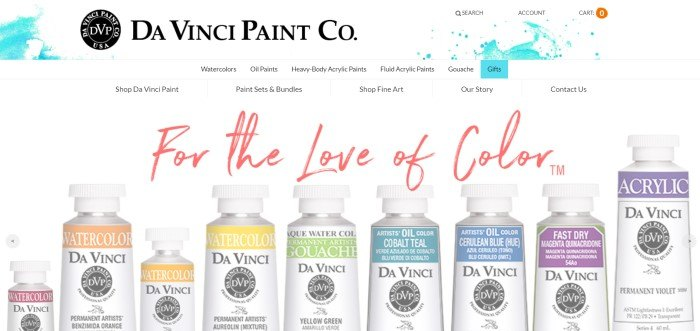 """This screenshot of the home page for Da Vinci Paint Co. shows a row of tubes of paint in different colors in front of a white background, along with red text reading """"For the love of color."""""""