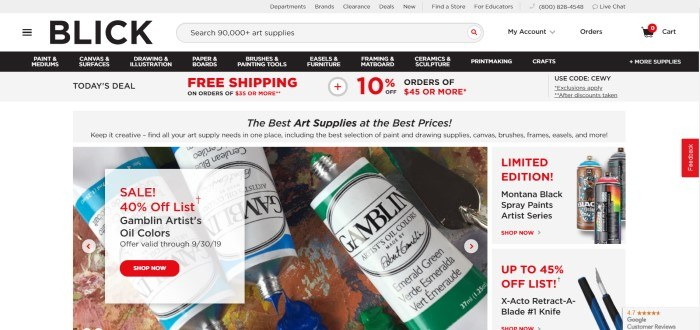 This screenshot of the home page for Dick Blick Art Supplies includes an announcement in black and red lettering for a 40% off sale in front of a used paint palette and a few tubes of blue and green paint.