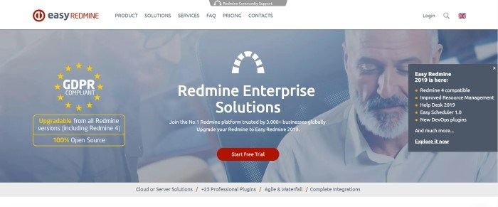 This screenshot of the home page for Easy Redmine has a gray filtered photo of two men apparently at work, behind white lettering introducing Redmine Enterprise Solutions and a red call-to-action button for starting a free trial.