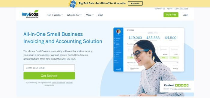 This screenshot of the home page for FreshBooks has a white navigation bar, a yellow sales banner announcing a 60% discount, and a main section with a light blue background, a woman smiling as she appears to be working on an accounting page, a photo of her dashboard with invoice information on it, and blue and black text announcing Fresh Books as an all-in-one small business accounting solution.