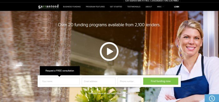 This screenshot of the home page for Garranteed Business Funding has a photo of a smiling blond woman in white shirt and blue apron standing outside a window that could be the window of a shop or office.