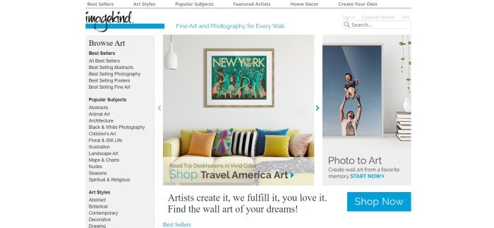 This screenshot of the home page for image kind has a white navigation bar at the top and a gray navigation bar along the left side, along with some art pieces from paintings and photos from independent artists on the left side of the page.