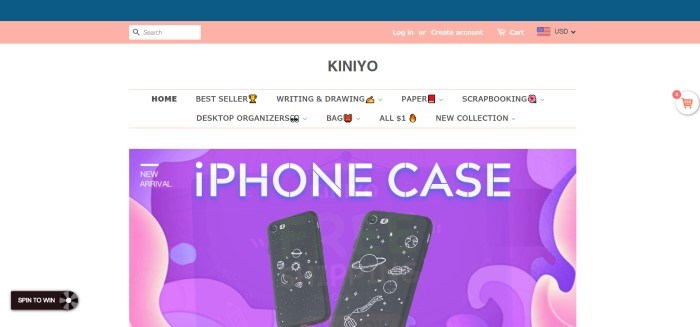This screenshot for the home page for Kiniyo has a white background with a purple and pink graphic behind two new iPhone cases in stock.
