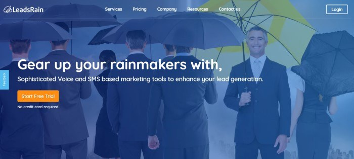 This screenshot of the home page for LeadsRain shows a blue filtered photo of a group of businessmen, with most of them holding dark umbrellas while they walk away from the camera, while one man faced the camera, smiling and holding a bright yellow umbrella, along with white text announcing the ability to gear up employees with LeadsRain.
