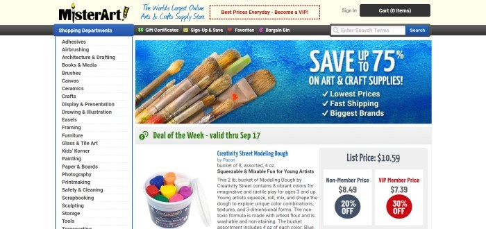 This screenshot of the home page for MisterArt includes an announcement on a blue background with several paintbrushes and white text for a 75% discount on art and craft supplies, along with black text on white background on the rest of the page showing what categories customers can shop in and announcing a pack of modeling clay as the deal of the week.